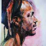 life study portrasit - head of a young black man in acrylic, pastel and pencil