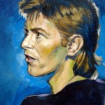 portrait of David Bowie in mixed media (acrylic, ink, pastel and pencil