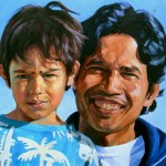 oil portrait of father and son