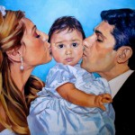 family portrait in oil on canvas