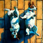 double oil portrait of Jack russels