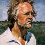 portrait of a man wiht rural background in oils on canvas