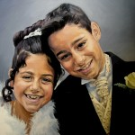 portrait of girl and boy in oils an canvas