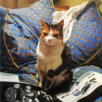 portrait in oils of a cat on cushions on canvas