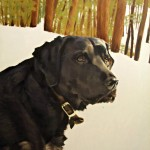portrait of black lab painted in oils on canvas
