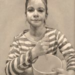 pencil portrait of a girl in